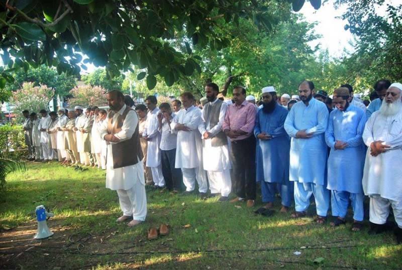 جماعت اسلامی کے مرکز منصورہ میں عبدالستارایدھی اورشہیدکشمیری رہنما برہان مظفرکی غائبانہ نمازجنازہ ادا کی گئی