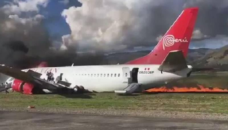 پیرو: مسافر بردار طیارے میں آگ لگ گئی۔
