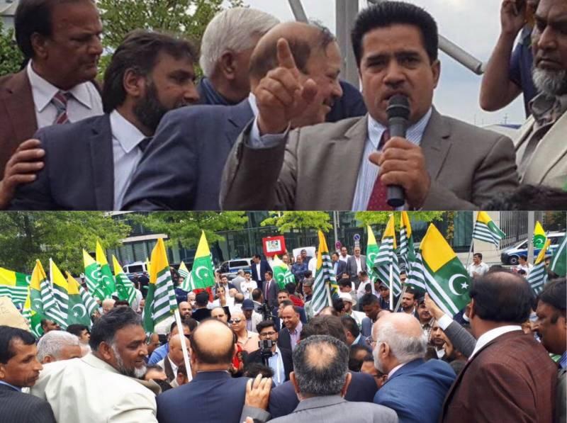 ہیمبرگ میں مودی کے خلاف مظاہرے میں پیرس سے کشمیری راہنما زاہد ہاشمی کی قیادت میں قافلہ کی شرکت۔