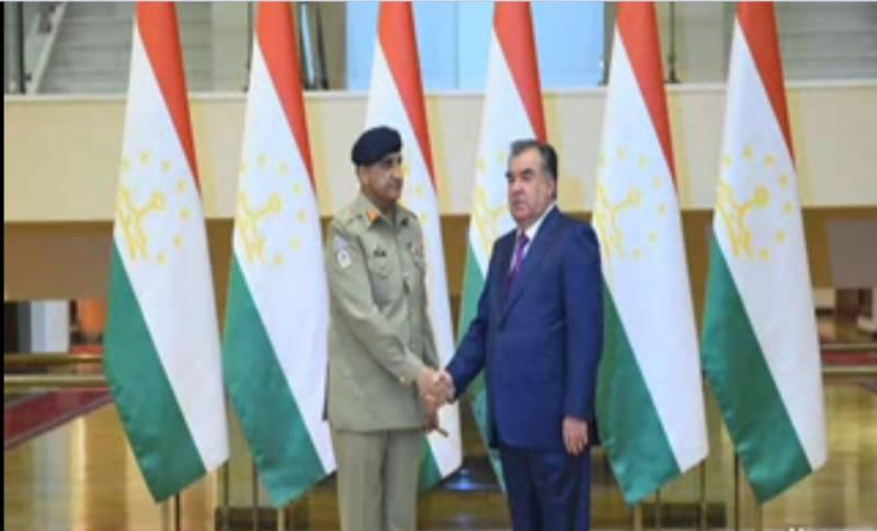 آرمی چیف جنرل قمرجاوید باجوہ نے تاجکستان کے دارالحکومت دوشنبے میں تاجک صدر امام علی رحمانوف سے ملاقات کی