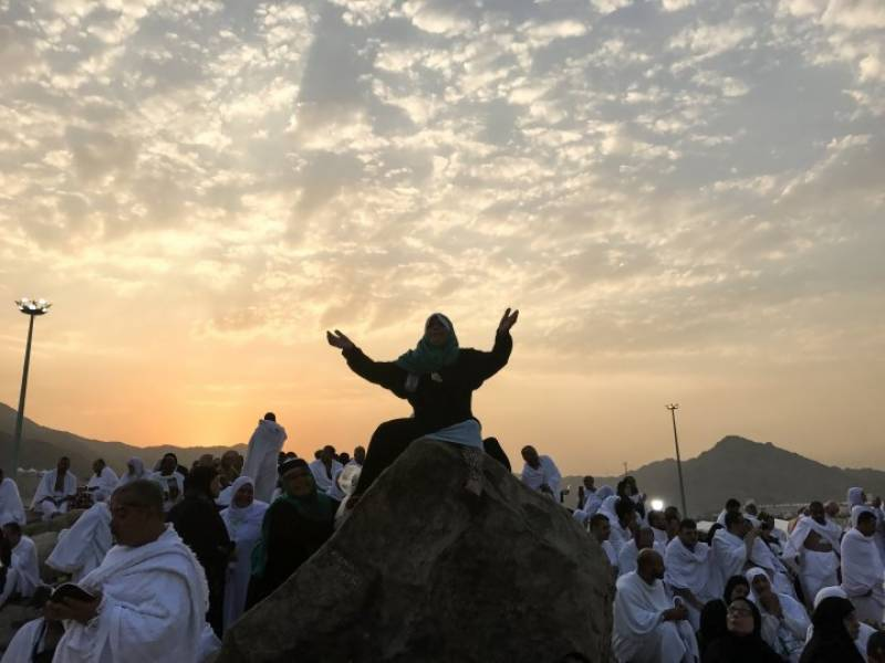 حجازمقدس کی فضائیں لبیک اللھم لبیک کی صداؤں سے معطر، حج کا رکن اعظم وقوف عرفہ ادا ۔