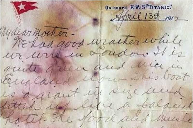 ٹائی ٹینک سے لکھا گیا امریکی مسافر کا خط ایک لاکھ 26 ہزار پائونڈ کی ریکارڈ بولی پر نیلام ہوگیا