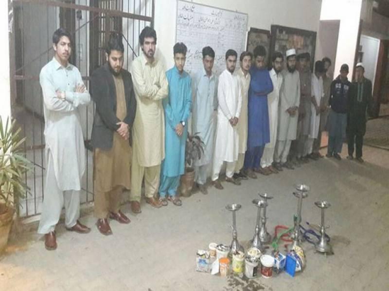پشاور میں شیشہ کیفے کے خلاف کریک ڈائون، 16 افراد گرفتار