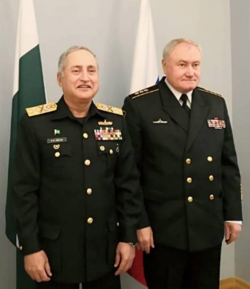 پاک بحریہ کے سربراہ کی روس کی بحریہ کے سربراہ سے سینٹ پیٹرزبرگ میں ملاقات,باہمی دلچسپی کے اُمور بشمول دو طرفہ بحری اشتراک پر تبادلہ خیال