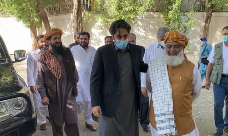 چیئرمین پاکستان پیپلزپارٹی بلاول بھٹو زرداری اور مولانا فضل الرحمان کے درمیان ملاقات