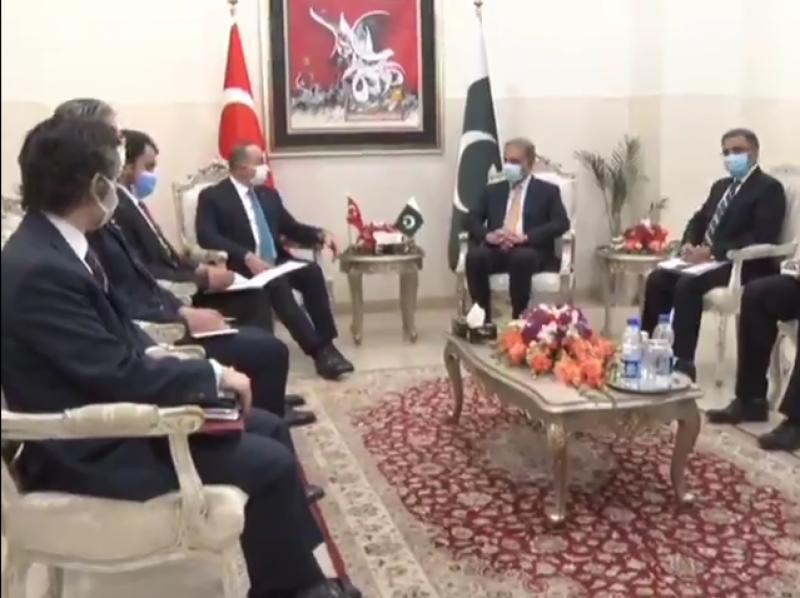 وزیر خارجہ شاہ محمود سے ترک ہم منصب کی ملاقات، دو طرفہ تعلقات پر تبادلہ خیال