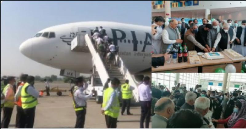 پہلی پرواز اسلام آباد سے سیدو شریف پہنچی، وزیراعلیٰ محمود خان نے گرین پاکستان وژن کےتحت پودا بھی لگایا