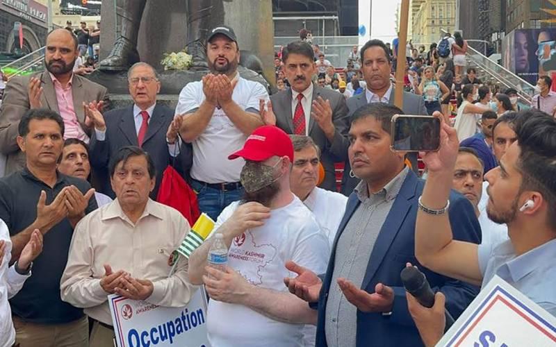 یوم شہداء کشمیر :کشمیری تارکین وطن کا نیویارک ٹائمز سکوائر میں بھارت کے خلاف زبردست احتجاجی مظاہرہ