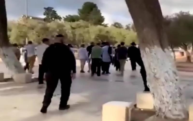 یہودی آباد کاروں کی اسرائیلی پولیس کی فول پروف سکیورٹی میں مسجدا قصیٰ کی بے حرمتی