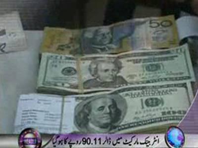 اوپن مارکیٹ میں ڈالر کی قیمت تاریخ کی بلند ترین سطح نوے روپے تیس پیسے پر پہنچ گئی ۔