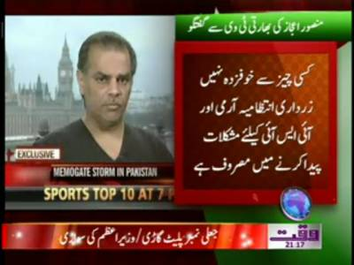 Mansoor Ejaz Interview To Indian TV about Zardari and Government of Pakistan 20 January 2012