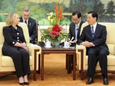 ہلیری کلنٹن کی چین کے صدر ہوجن تاؤسے ملاقات. دونوں ملکوں کے درمیان تعلقات مضبوط بنانے اورمختلف شعبوں میں تعاون کے لیے تبادلہ خیال کیا گیا۔