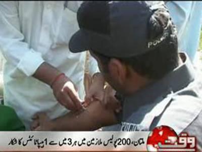 ملتان میں دوسوپولیس ملازمین میں ہرتین میں سے ایک پولیس اہلکار ہیپاٹائٹس بی اور سی کے مرض میں مبتلا ہے