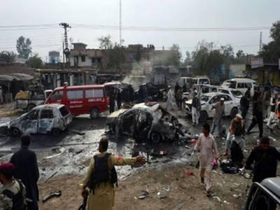 خیبر ایجنسی کے جمرود بازار میں فوجی ماکیٹ کے قریب دھماکہ, اٹھارہ افراد جاں بحق اور متعدد زخمی۔
