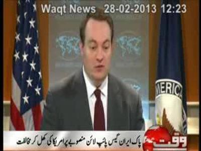 America Threats Over Pak- Iran Gas Pipeline Project 28 February 2013