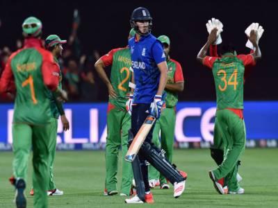 بنگلہ دیش نے انگلینڈ کو پندرہ رنز سے شکست دے کر کوارٹر فائنل کی دوڑ سے باہر کردیا
