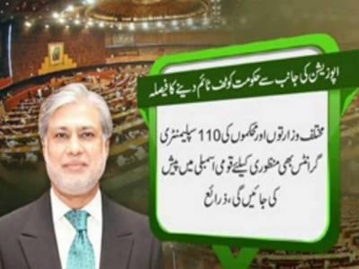 وفاقی وزیرخزانہ آج فنانس بل 2015-2016 منظوری کیلئے قومی اسمبلی میں پیش کریں گے