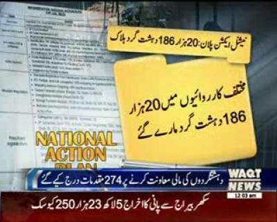 نیشنل ایکشن پلان کے تحت 20 ہزار 186 دہشت گردوں کو ہلاک کیا گیا