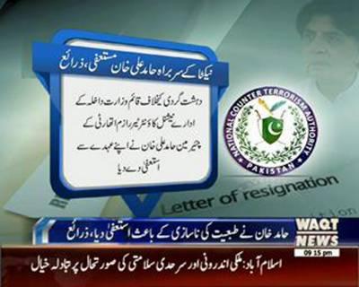 Coordinator of NACTA Hamid Ali Khan Resigned