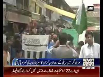 Kashmiri wriggling Pakistani Flag In Sri Nagar