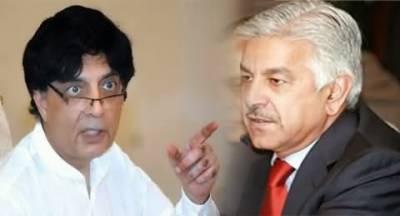 حکومت کے دو بڑے وزراء میں اختلافات کھل کرسامنے آچکے, چودھری نثار اور خواجہ آصف کے درمیان سرد جنگ