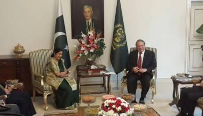 وزیر اعظم نواز شریف اور بھارتی وزیر خارجہ سشما سوراج کے درمیان ملاقات , دونوں ممالک کے درمیان تصفیہ طلب معاملات کے حل , دہشت گردی کے خاتمے اور مذاکرات کی بحالی پر بھی بات چیت