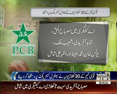 30 Pakistani Cricketers signed Central Contract