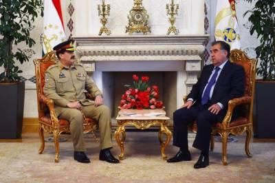 آرمی چیف جنرل راحیل شریف کی تاجکستان کے دورے میں تاجک صدر امام علی رحمان سے ملاقات , دہشت گردی کے خلاف جنگ پر تبادلہ خیال