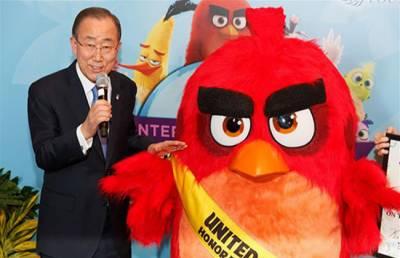 ہالی ووڈ اینی میٹڈ فلم اینگری برڈز کے گرین کارپٹ پریمیئر میں اقوام متحدہ کے سیکرٹری جنرل بان کی مون کی شرکت نے تقریب کو چار چاند لگادیئے