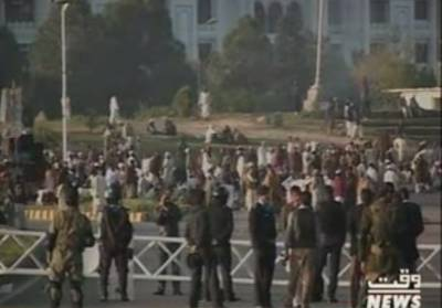اسلام آبادکےڈی چوک پرمذہبی جماعتوں کی جانب سےدھرناجاری ہے