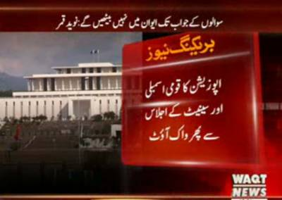 قومی اسمبلی میں وزیراعظم نواز شریف کےنہ آنےکی وجہ سےاپوزیشن اراکین اجلاس سےواک آؤٹ کر گئے
