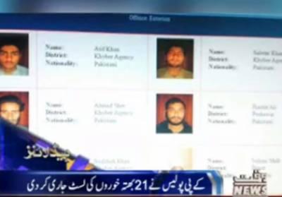 کے پولیس نے صوبے کے مختلف شہروں میں بھتہ وصول کرنیوالےبھتہ خوروں کے ناموں کی فہرست جاری کردی