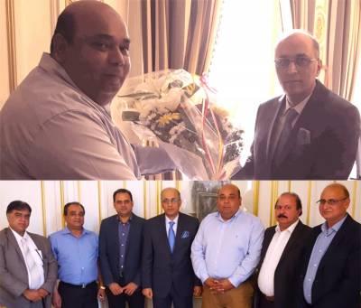 کوآرڈینیٹر پیپلز پارٹی یورپ کامران یوسف گھمن کی قیادت میں وفد کی سفیر پاکستان معین الحق سے ملاقات