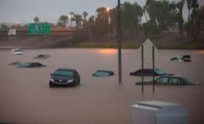 امریکی ریاست ایری زونا میں بارشوں نےتباہی مچا دی ،سڑکوں پر کئی فٹ پانی کھڑا ہونےسےنظام زندگی درہم برہم ہو گیا