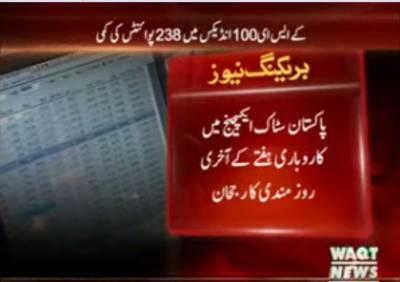 پاکستان سٹاک ایکسچینج میں کاروباری ہفتے کے آخری روز مندی کا رجحان