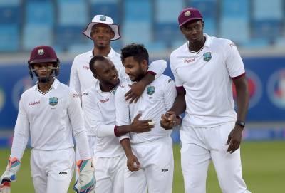 دبئی ٹیسٹ کے چوتھے روز پاکستان کی پوری ٹیم دوسری اننگز میں ایک سو تئیس رنز بنا کر آؤٹ , ویسٹ انڈیز کو جیت کے لیے تین سو چھیالیس رنز کا ہدف
