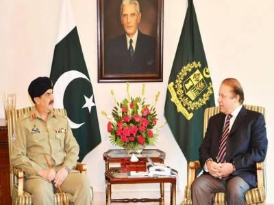 وزیراعظم نواز شریف سے آرمی چیف جنرل راحیل شریف کی ملاقات , کسی بھی جارحیت کے خلاف منہ توڑ جواب دینے پر اتفاق کیا گیا۔