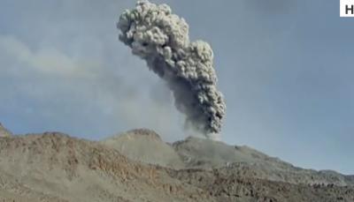 پیرو میں saban caya آتش فشاں پہاڑ سے بھاری مقدار میں راکھ کا اخراج ہو رہا ہے