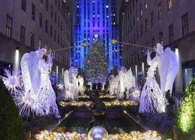 نیویارک: مین ہٹن کے راک فیلر سنٹر میں روایتی کرسمس ٹری روشن کر دیا گیا