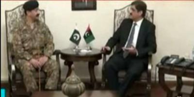 مراد علی شاہ سے کورکمانڈر کراچی لیفٹیننٹ جنرل شاہد بیگ مرزا نے ملاقات کی