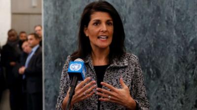 قوام متحدہ میں امریکی مندوب نکی ہیلے کا کہنا ہے،،کہ ایران کا بیلسٹک میزائل کاتجربہ قابل مذمت اور ناقابل قبول ہے،