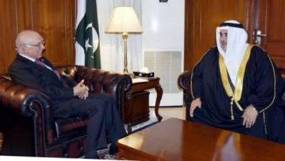 مشیر خارجہ سرتاج عزیز سے بحرین کے وزیر خارجہ شیخ خالد بن احمد بن محمدالخلیفہ نے ملاقات کی