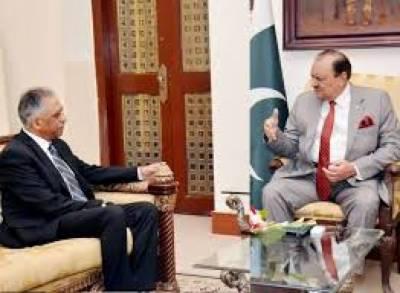 گورنر سندھ محمد زبیر نے صدر مملکت ممنون حسین سے اسٹیٹ گیسٹ ہاؤس میں ملاقات