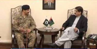 وزیراعلیٰ سندھ مراد علی شاہ سے کور کمانڈر کراچی کی ملاقات