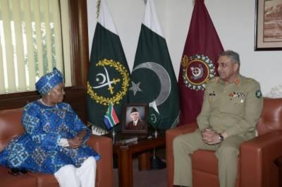 آرمی چیف سے جنوبی افریقہ کی وزیر دفاع نوسیوی ماپیسا کی ملاقات