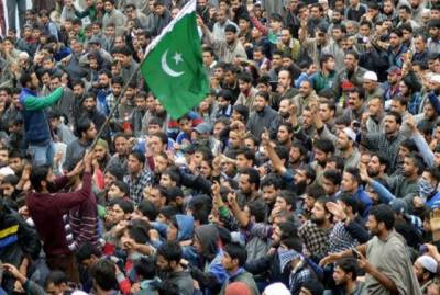 کشمیرمیں ایک بار پھر سبز ہلالی پرچم لہرا دیا گیا۔