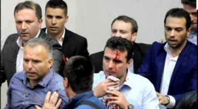 مقدونیہ کے دارالحکومت سکوپیہ میں ا سپیکر پارلیمنٹ کے انتخاب کے بعد مظاہرین نے پارلیمان پر دھاوا بول دیا