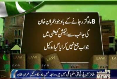 الیکشن کمیشن میں عمران خان کیخلاف توہین عدالت اورنا اہلی کیس میں جواب جمع نہ کرایا جاسکا