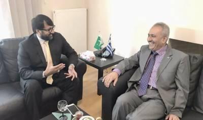 چوہدری پرویز اقبال لوہسر کی یونان میں سفیر خالد عثمان قیصر سے اہم ملاقات
