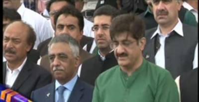 گورنر سندھ محمد زبیر اور وزیراعلیٰ سندھ سید مراد علی شاہ مزار قائد پر پہنچے